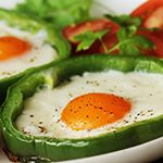 Atkins Bell Pepper Rings Filled with Eggs and Mozzarella