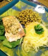 Salmon Un-croute with spaghetti squash and sweet peas
