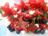 Watermelon, Blueberry, Feta Mint Salad